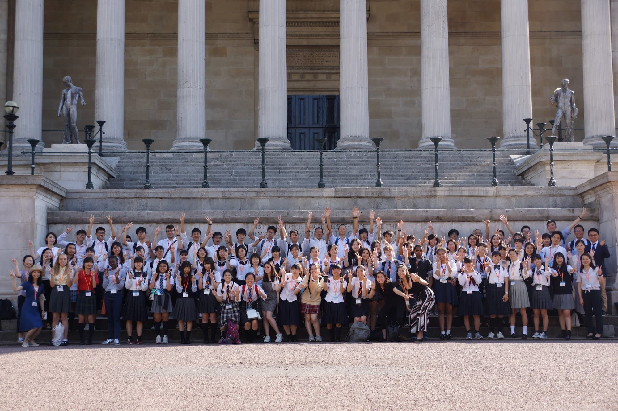 UCL-Japan Youth Challenge 2019 participants in front of UCL main building in close-up